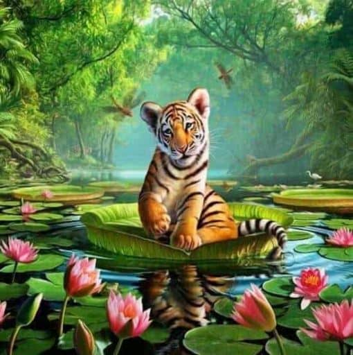 tijger zittend op een waterlelie