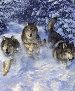 drie wolven in de sneeuw diamond painting