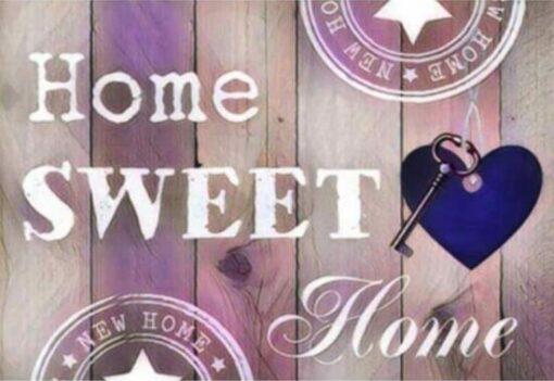 Diamond Painting - Home Sweet Home 30x20 Licht Roze - FULL - Volledig - SEOS Shop ®