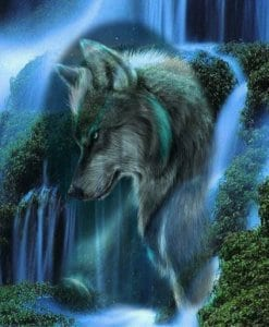 Diamond Painting - 5D - Wolf en waterval - FULL - 30x30 - SEOS Shop ®