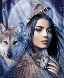 Diamond Painting - Vrouw met Wolven Welpje