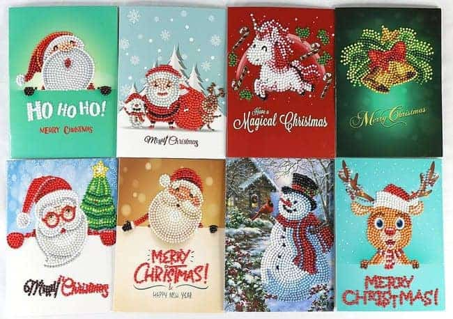 Diamond Painting Pakket 8 Prachtige Kerstkaarten - Inclusief enveloppen - Gedeeltelijk - 13x18cm - SEOS Shop ®