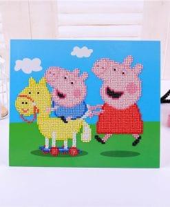 Diamond Painting Pakket voor kinderen - Peppa Pig op de fiets - 21x25 cm - SEOS Shop ®