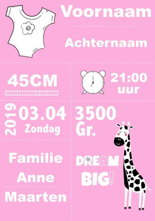 Gepersonaliseerde Geboortekaart Roze