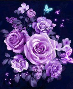 Diamond Painting Pakket Paarse Bloemen